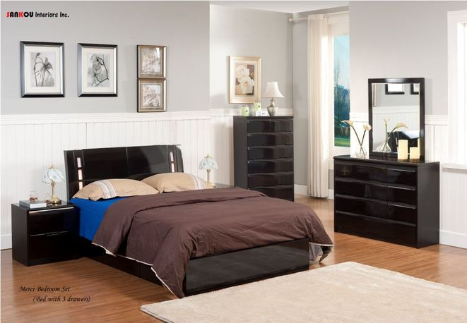 Color Dark Brown (Shinny) The 6 drawers bed and moden style. Size Bed--Double --Queen --King Night Table--20.4*15.5*19 inch Dresser+Mirror--42.7*17.7*69 ... & Storage Beds - Mude Furniture